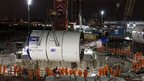 A 550 tonne tunnelling machine called Elizabeth has been lowered into a 40m shaft in east London as part of the Crossrail project