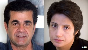 A combination of two file images shows Iranian film director Jafar Panahi (L) posing during an interview with AFP in Tehran on August 30, 2010 and Iranian lawyer Nasrin Sotoudeh posing in Tehran on November 1, 2008.