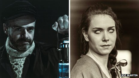 John Gregor as the head lighthouse-keeper George Roper and Abi Blears as Vicky in Drowning Rock