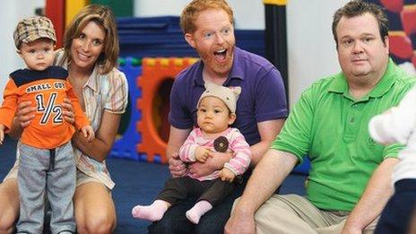 Modern Family - Lyndsey Stoddart (second left) Jesse Tyler Ferguson (centre) Eric Stonestreet (R) Modern Family