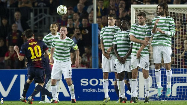 Celtic put up a stern defence against Barcelona