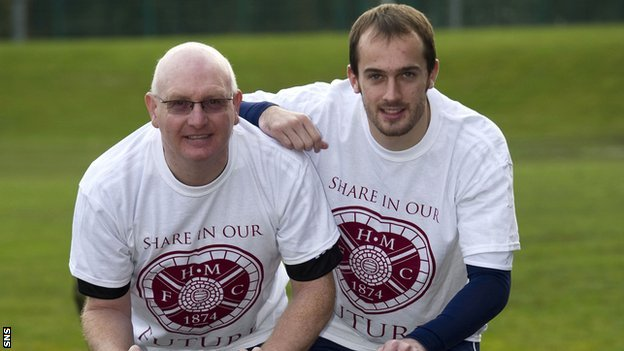 Hearts manager John McGlynn and goalkeeper Jamie MacDonald