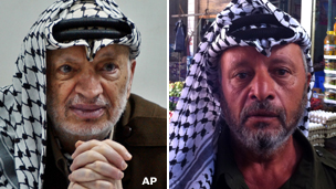 Yasser Arafat and lookalike Salem Smeirat (right)