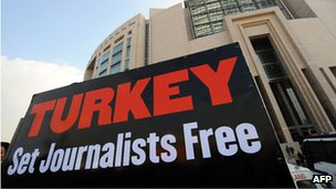 Placard calling for journalists' release outside Istanbul courthouse in 2012