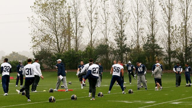 St Louis Rams train at Arsenal FC's London Colney training ground
