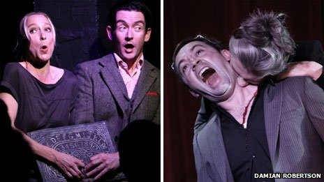 Left frame: Sarah-Louise Young and Desmond O'Connor sing with a ouija board. Right frame: Shaun Stone and Victoria Lennox in the short play Representation at the Soho Theatre's Terror 2012: All in the Mind