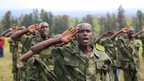 Recruits of the newly formed Congolese Revolutionary Army salute during military training in Rumangabo military camp  - Tuesday 23 October 2012