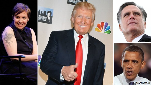Lena Dunham, Donald Trump, Mitt Romney and Barack Obama
