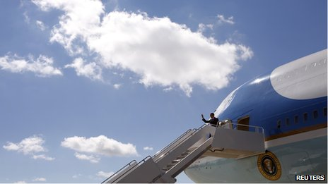 President Obama steps off Air Force One to campaign