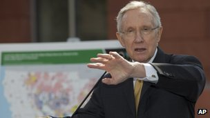 Senate Majority Leader Harry Reid, speaks at a news conference, 12 October 2012