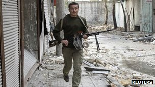 A Free Syrian Army fighter in Aleppo, Syria (25 Oct 2012)