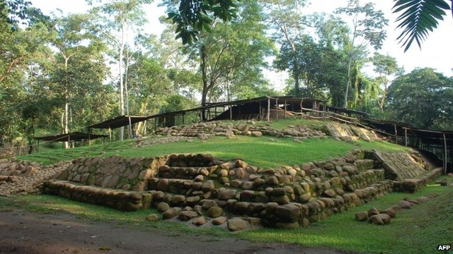 The site of the discovery of the tomb in Archaeological National Park in Retalhuleu, Guatemala, undated handout photo