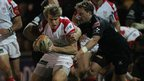 Andrew Trimble goes past Liam Davies to launch another Ulster attac