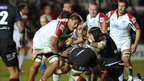 Nick Williams prepares to dive over the line to score a try for Ulster during the first half