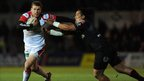Ulster centre Darren Cave fends off Andy Tuilagi as he heads for the try-line during the second half