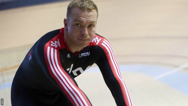 Sir Chris Hoy at the Glasgow velodrome named after him