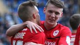 Cardiff City goal scorers Craig Noone and Joe Mason celebrate