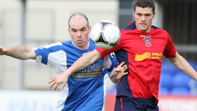 Match action from Dungannon Swifts against Lisburn Distillery