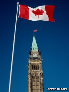 Canadian flag outside Parliament