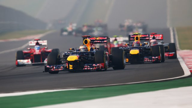 Sebastian Vettel leads the Indian Grand Prix