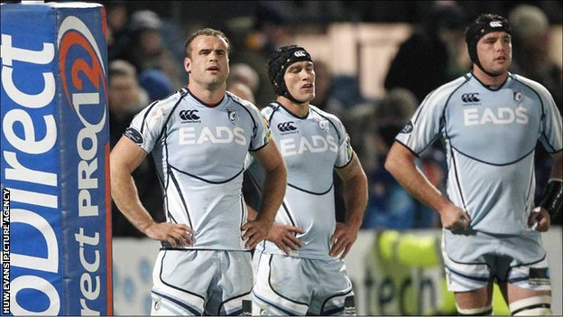 Jamie Roberts, Tom James and Andries Pretorius look dejected