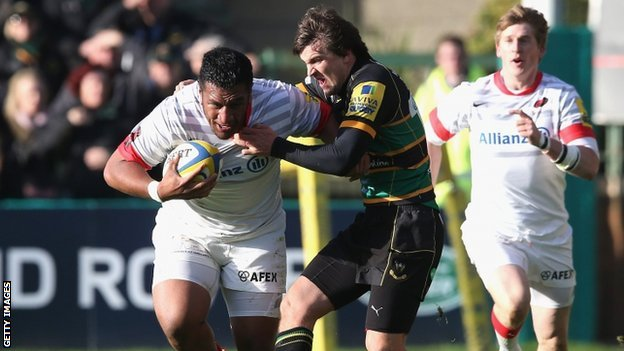 Saracens prop forward Mako Vunipola (left) in action against Northampton