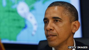 US President Barack Obama makes a statement after a briefing on Hurricane Sandy at the Federal Emergency Management Agency headquarters in Washington DC, 28 October 2012