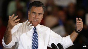 Mitt Romney speaks at a campaign rally in Marion, Ohio, 28 October 2012