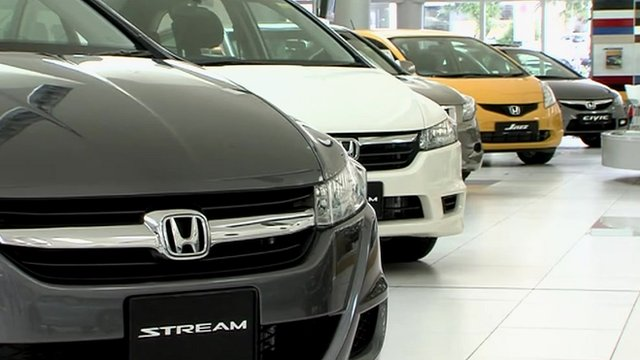 Honda cars in a showroom
