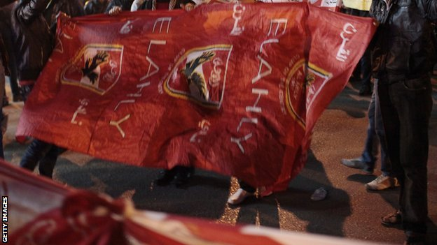Al Ahly fans with a flag