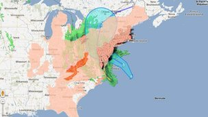 Google crisis map of Hurricane Sandy