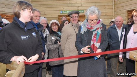 Gail Stuart opens the Eric Morecambe hide at RSPB Leighton Moss