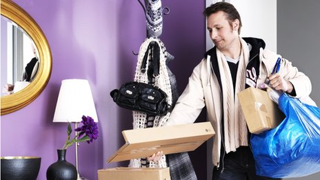 Man returns home with Ikea purchases