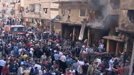 State media video footage purportedly showing aftermath of explosion in Jaramana, Damascus (29 October 2012)