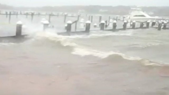 Rough weather at a beach in Red Bank, New Jersey, US, on Monday morning.