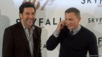 Spanish actor Javier Bardem (left) and British actor Daniel Craig pose during the photocall of the new James Bond film Skyfall in Madrid