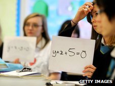 Pupils at Williamwood High School attend a maths class