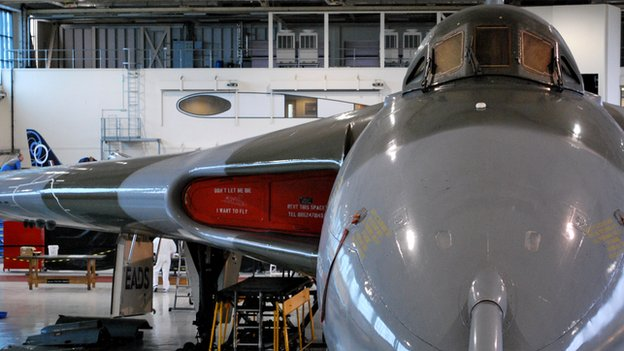 The Vulcan based in hangar three at Robin Hood Airport