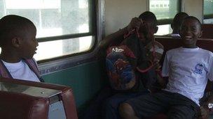 Children commute by train in Dar es Salaam  (29 October 2012)