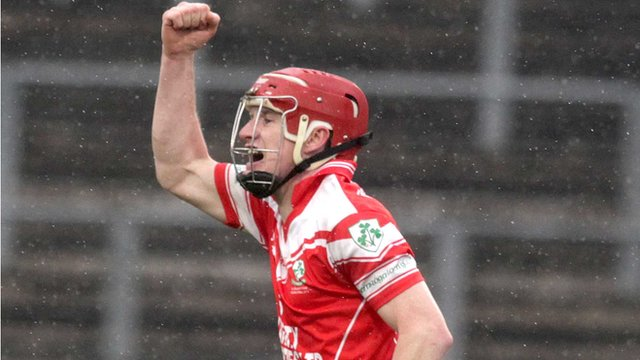 Shay Casey celebrates after scoring a goal for Loughgiel