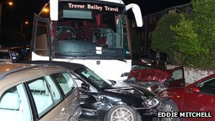 Crash scene in Downview Road, Worthing