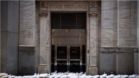 NYSE sandbags outside