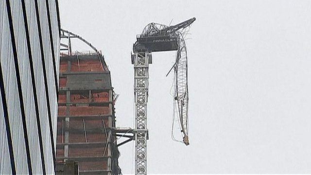 Crane hangs over New York