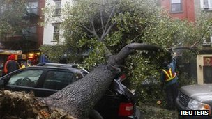 Storm damage in Hoboken, New Jersey