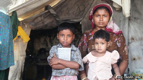 Displaced Muslim family in Rakhine state (Photo by Joe Cropp/IFRC)