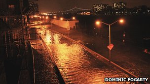 East 72nd Street, at the end by the FDR Drive covered in flood water