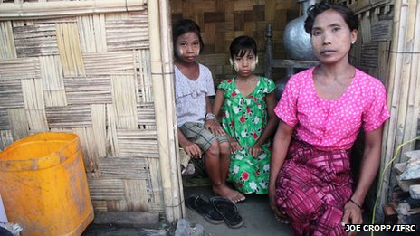 Displaced ethnic Rakhine family in Rakhine state