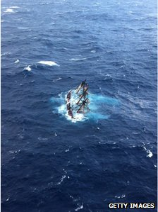 HMS Bounty half-submerged in the waters off North Carolina
