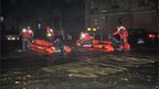 Policemen with inflatable dinghies in New York's 14th Street