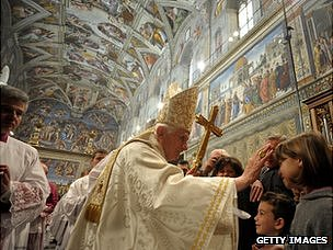 Pope Benedict celebrates baptisms in the Sistine Chapel (January 2012)
